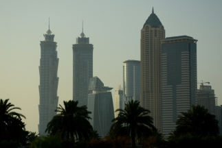 The tallest hotel in the world (two towers on the left)