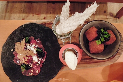 Smoked lamb - carpaccio with blueberries, dried fish, deep fried camembert