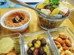 Muhammara, moukhallal and quinoa & feta cheese salad