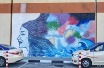 Mural (by students of Amity University) at Dubai Outlet Mall - Dubai, UAE