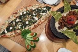Spinach & feta pide, ali nazik kabab